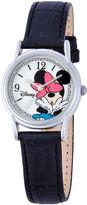 Disney Minnie Mouse Womens Black & Silver-Tone Watch