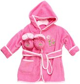 SpaSilk 100% Cotton Hooded Terry Bathrobe with Booties - Pink Flower