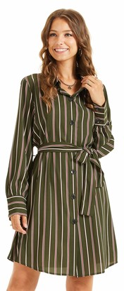 SONJA BETRO Women's Stripe Print Button Down Long Sleeve Tie Waist Shirt Dress Office/101Khaki/Tag Size 2X=XXX-Large