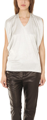 3.1 Phillip Lim Gathered Shoulder V Neck Tank