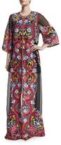 Naeem Khan Long Embroidered Silk Coat, Black/Multi