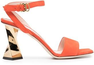 Pollini Metallic Sculpted-Heel Sandals