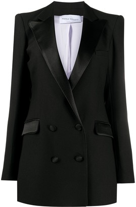 Hebe Studio Structured Shoulder Double-Breasted Blazer