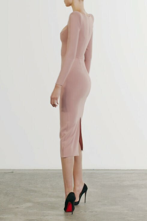 Thumbnail for your product : Alex Perry Cary Stretch Crepe Scoop Long Sleeve Dress