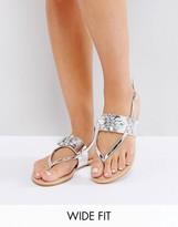 Asos FREEFALL Wide Fit Embellished Flat Sandals