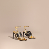 Burberry Two-tone Leather Sandals with Buckles