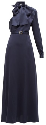 Hillier Bartley One-shoulder Pussy-bow Silk Dress - Womens - Navy