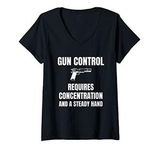 Womens Gun Control Requires Concentration and a Steady Hand V-Neck T-Shirt
