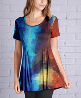 Lily Blue & Red Abstract Scoop Neck Tunic - Plus Too