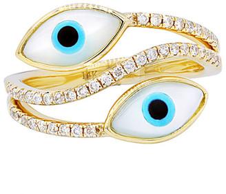 Diana M Fine Jewelry 14K Yellow Gold 0.30 Ct. Tw. Diamond Evil Eye Ring