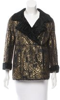 Oscar de la Renta Metallic Shearling Jacket w/ Tags