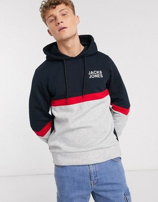 Jack and Jones essentials color block overhead hoodie