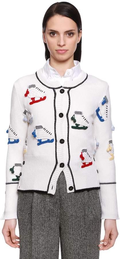 Thom Browne Ice Skates Wool Knit Cardigan