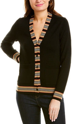 Burberry Icon Stripe Detail Wool Cardigan