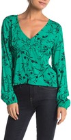Abound Floral Print Long Sleeve Shirred Top