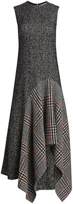 Oscar de la Renta Sleeveless Wool-Blend Handkerchief Dress