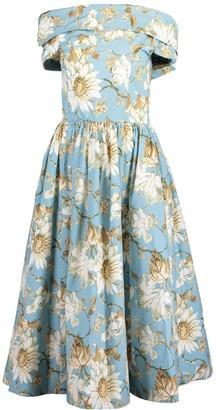 Oscar de la Renta French Blue Printed Off Shoulder Midi Dress