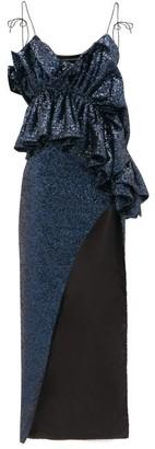 Germanier - Ruffled Sequinned Maxi Dress - Womens - Navy