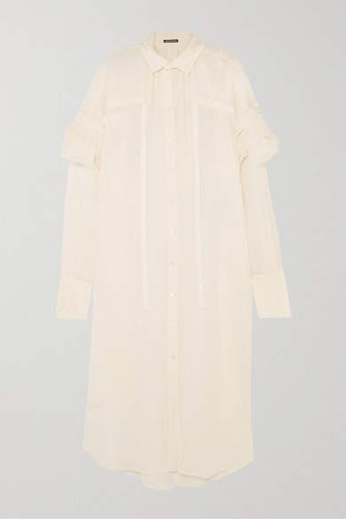 Ann Demeulemeester Ruffled Cotton And Cashmere-blend Dress - Cream