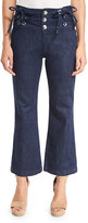 See by Chloe Cropped Chambray High-Rise Flare Trousers, Blue