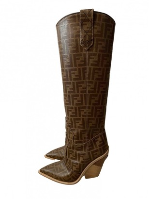 Fendi Cowboy Brown Cloth Boots