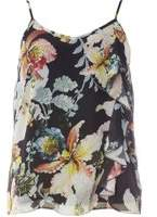 Dorothy Perkins Womens Black Floral Print Ruffle Camisole Top- Black