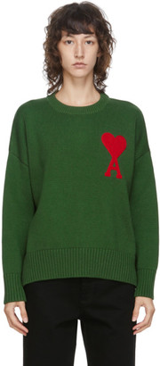Ami Alexandre Mattiussi Green Ami De Coeur Crewneck Sweater