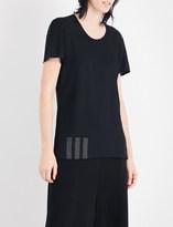 Y-3 Y3 Ladies Black Striped Breathable Text-Print Sports-Mesh T-Shirt