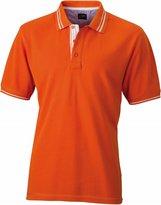 Jaes & Nicholsonen's Jn947 Lifestyle Polo Shirt Darkediu Orange/Off White