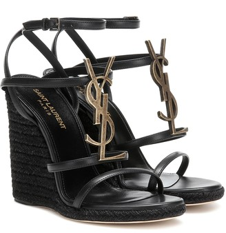 Saint Laurent Cassandra leather wedge espadrille sandals