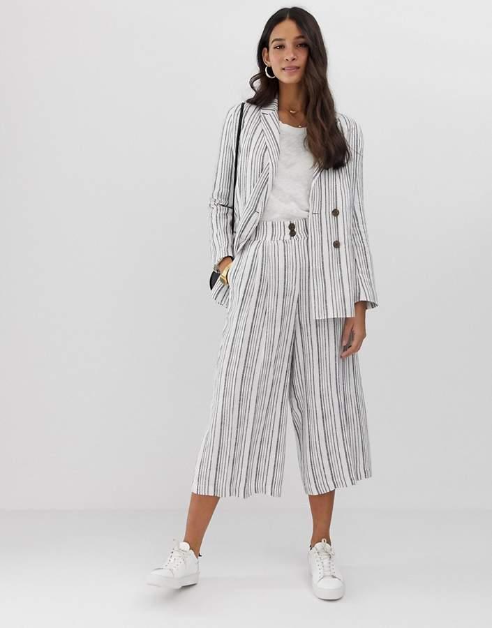 Asos Design DESIGN gutsy linen culottes in stripe