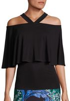 Yigal Azrouel Matte Jersey Cold-Shoulder Top