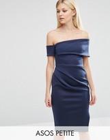 Asos Clean Scuba Midi One Shoulder Dress with Wrap Skirt & Zip