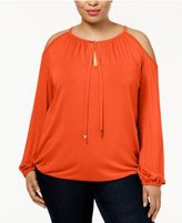MICHAEL Michael Kors Size Cold-Shoulder Peasant Top