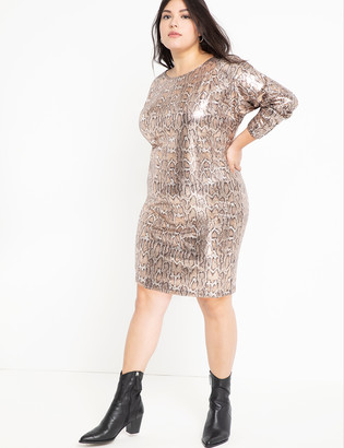 ELOQUII Sequin Easy Dress with V Back