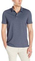 Perry Ellis Men's Two-Button Birdseye Texture Polo Shirt