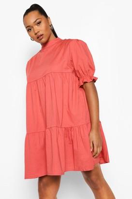 boohoo Plus High Neck Smock Dress