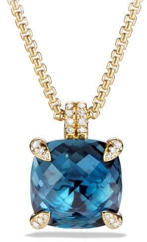 "David Yurman 18k Châtelaine® Pendant Necklace in Hampton Blue Topaz, 18"""