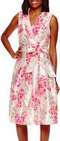 Jessica Howard Sleeveless Floral Shantung Shirtdress