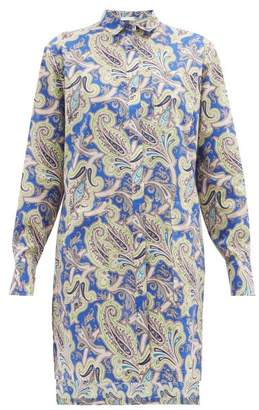 Etro Paisley-print Cotton Shirtdress - Womens - Blue
