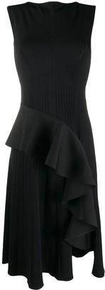 Off-White Ribbed Draped Sleeveless Dress