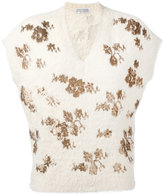 Brunello Cucinelli floral knit T-shirt - women - Cotton/Polyamide/Polyester - XS