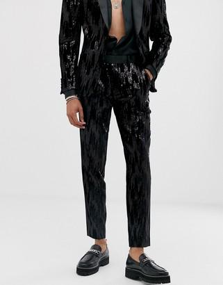 Asos Design DESIGN skinny suit trousers in black velvet and sequins