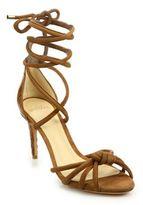 Alexandre Birman Lanna Suede & Crocodile Ankle-Wrap Sandals