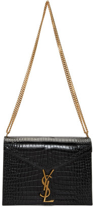 Saint Laurent Black Medium Croc Cassandra Bag