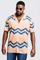 BoohooMAN Big & Tall Chevron Print Revere Jersey Shirt