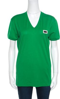 Dolce & Gabbana Parrot Green Cotton Logo Plaque Detail T-Shirt L