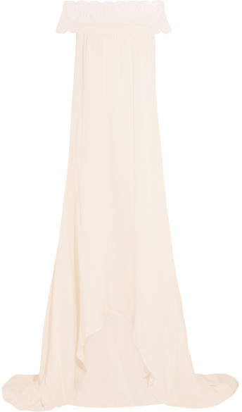 Self-Portrait Bardot Guipure Lace-trimmed Satin Gown - Ivory