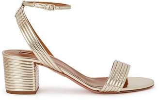 Aquazzura Sundance 50 Gold Leather Sandals
