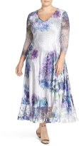 Komarov Plus Size Women's Print Charmeuse & Chiffon A-Line Long Dress